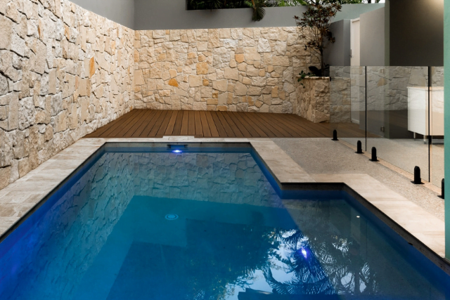 Pool area after build